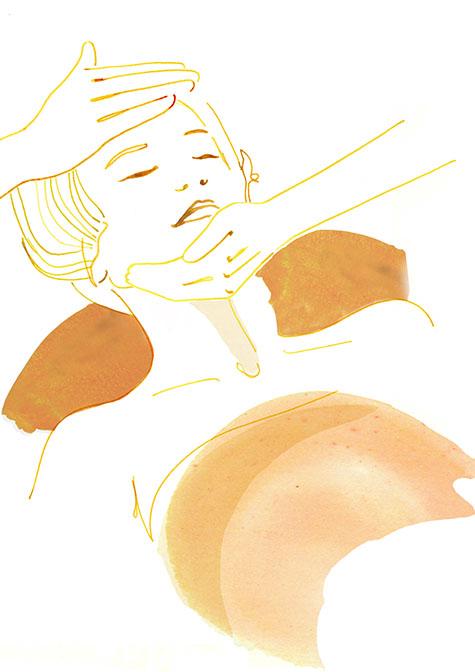 tekening van dame in salon die gemasseerd wordt